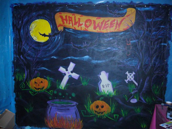 Halloween 2013 Fresque - Painting,  0.8x0.8x0.4 in, ©2013 by Gu Lagalerie -                                                                                                                                                                                                                                                                  Illustration, illustration-600, gu, gu lagalerie, Halloween