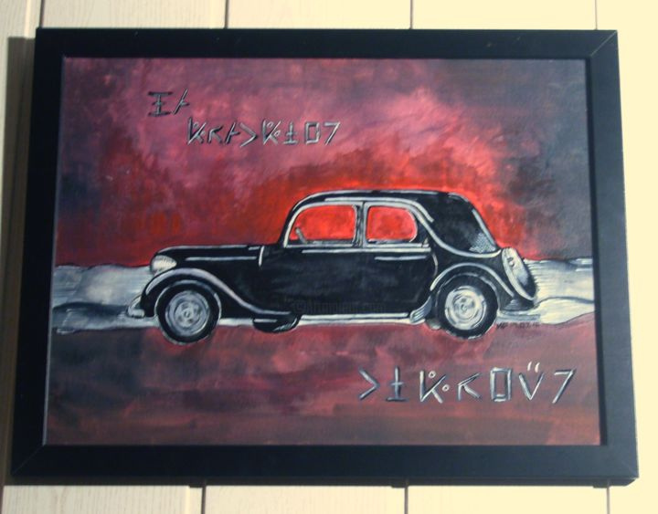 La Traction - Painting,  11.8x15.8x0.8 in, ©2016 by Gu Lagalerie -                                                                                                                                                                                                                                                                                                                                                              Figurative, figurative-594, Car, la traction, gu, gu lagalerie, voiture