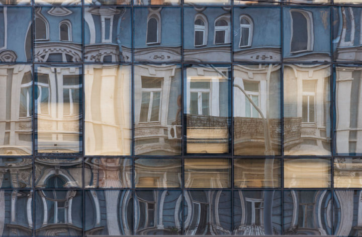 distorting windows - Photography,  21x30x0.1 cm ©2010 by Ievgen Gubareni -                                                                                                                                                Abstract Art, Documentary, Modernism, Realism, Paper, Architecture, Time, Geometric, Cities, Cityscape, kyiv, windows, curve