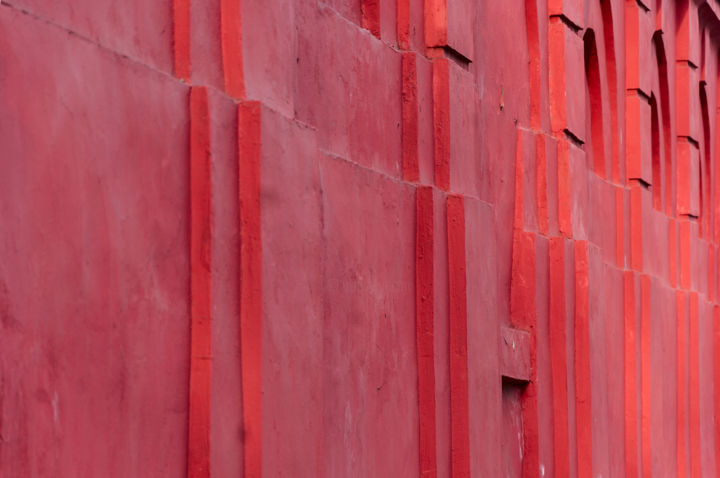 Red Stripped Wall - Photography,  22.9x34.4x0.1 cm ©2010 by Ievgen Gubareni -                                                                                                Abstract Art, Conceptual Art, Paper, Abstract Art, Architecture, Geometric, loft, red, wall