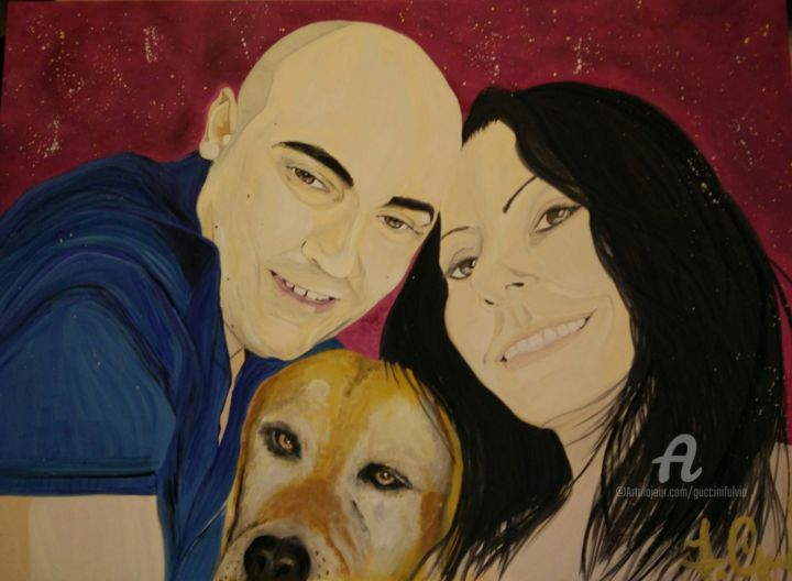 Gli Amori di Funny - Painting,  50x70x0.5 cm ©2017 by Fulvia Guccini -                                                        Portraiture, Wood, Family