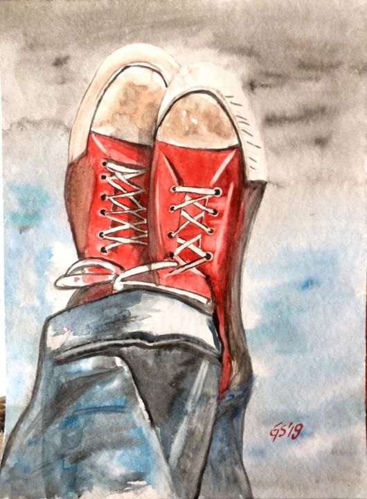 """Painting titled """"relaxing with red s…"""" by Gudrun Sageder, Original Art, Watercolor"""