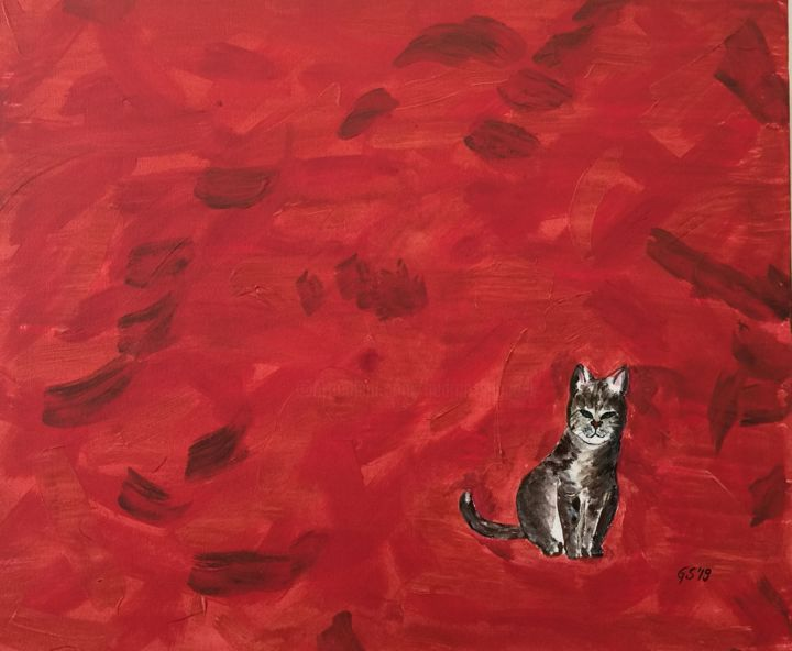 """Painting titled """"lost cat"""" by Gudrun Sageder, Original Art, Acrylic"""