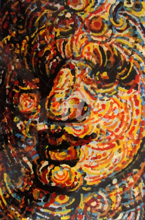Femme - Painting,  5.9x3.9 in, ©2014 by Thierry Guého -                                                                                                                                                                                                                                                                                                                                                                  Figurative, figurative-594, Glass, Portraits, peinture sous verre, reverse painting on glass, portrait