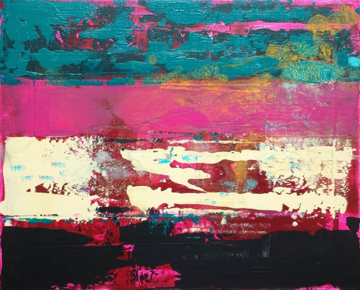 petite abstraction colorée 26-6 - Painting,  33x41x2 cm ©2017 by Jean François Guelfi -                                                        Abstract Art, Canvas, Abstract Art
