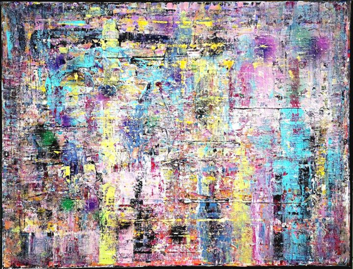 Grande abstraction 1529 - Painting,  35x45.7x0.8 in, ©2019 by Jean François Guelfi -                                                                                                                                                                          Abstract, abstract-570, Abstract Art