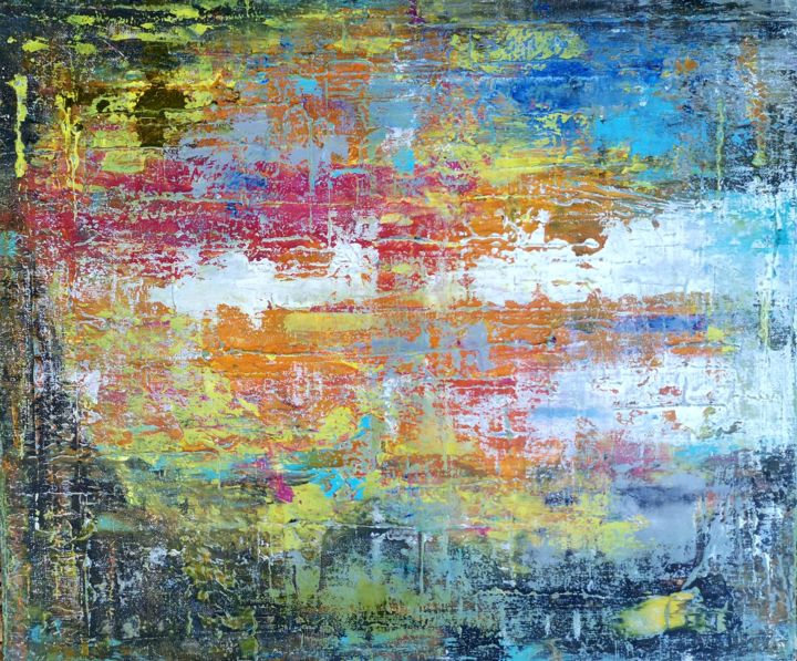 Abstraction 6-20 - Peinture,  18,1x21,7x0,8 in, ©2020 par Jean François Guelfi -                                                                                                                                                                          Abstract, abstract-570, Art abstrait