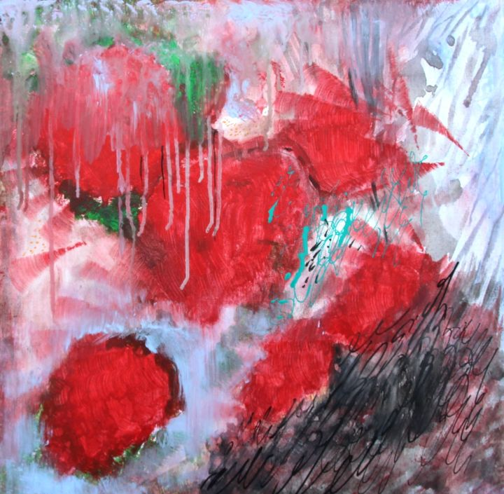 Jardin 2 Pivoines - Painting,  23.6x23.6 in, ©2015 by Jean François Guelfi -                                                                                                                                                                          Abstract, abstract-570, Abstract Art