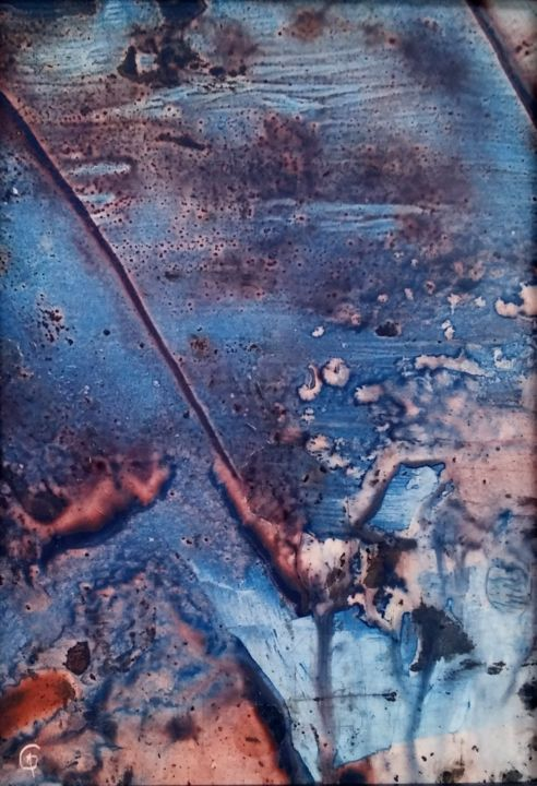 Blue theme Peinture encaustique abstrait couleur - Peinture,  7,1x4,7x0,4 in, ©2019 par Guenzone -                                                                                                                                                                                                                                                                                                                                                                                                          Abstract, abstract-570, Art abstrait, Paysage, peinture encaustique, abstrait couleur, abstract paint, encaustic paint