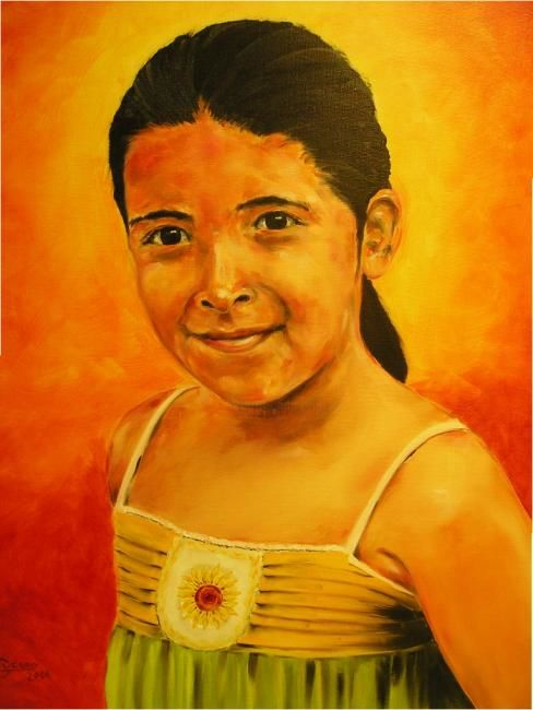 """Painting titled """"Girl in yellow"""" by Guerro, Original Art,"""