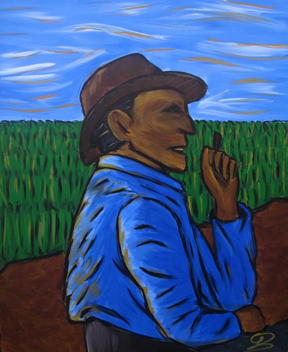 ASKED A QUESTION - Painting,  23.6x19.7x1.6 in, ©2018 by Gui Limão -                                                                                                                                                                                                                                                                                                                                                                                                                                                                                                                                                                                                                                                                                                                                                                                                                                                                                                              Figurative, figurative-594, Rural life, Cartoon, Men, body language, blue, brown, cartoon, childish, green, insight, lonely, melancholy, relaxation, sad, serenity, smoking, thinker