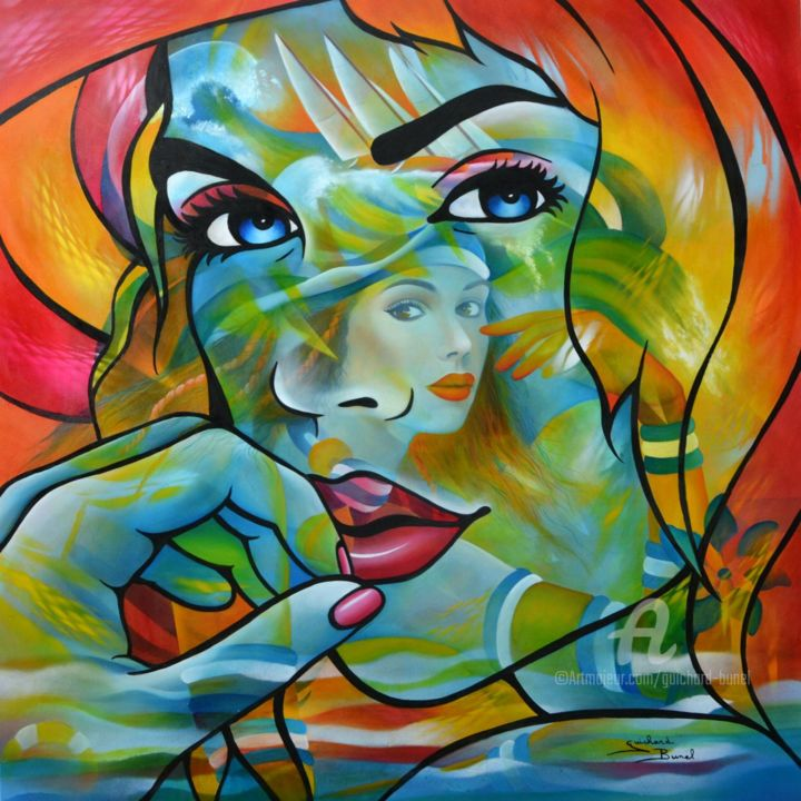 Alyzee - Painting,  80x80 cm ©2018 by Jeannette Guichard-Bunel -                                                            Pop Art, Canvas, Portraits, art contemporain, néopopart, mer, voile, yacht, sailing, transparences, vagues, marinette, voyage, couleurs