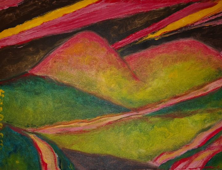 """Painting titled """"Luce e colline"""" by Guido Maria Filippi, Original Art, Oil"""