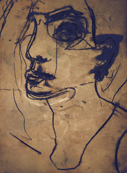 """Drawing titled """"Portrait"""" by Guillaume Canva (.cG.), Original Art, Charcoal"""