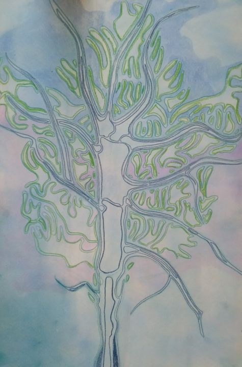 """Drawing titled """"Arbre 2"""" by Guillaume Canva (.cG.), Original Art, Pencil"""