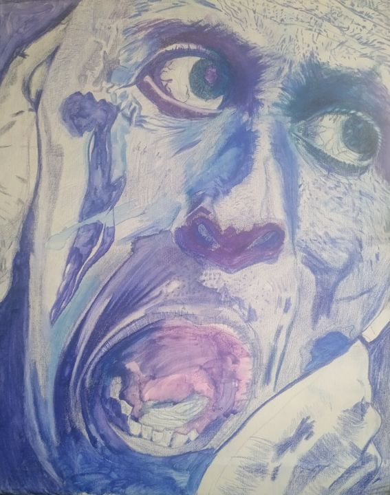 """Drawing titled """"Le cri #5"""" by Guillaume Canva (.cG.), Original Art, Pencil Mounted on Stretcher frame"""