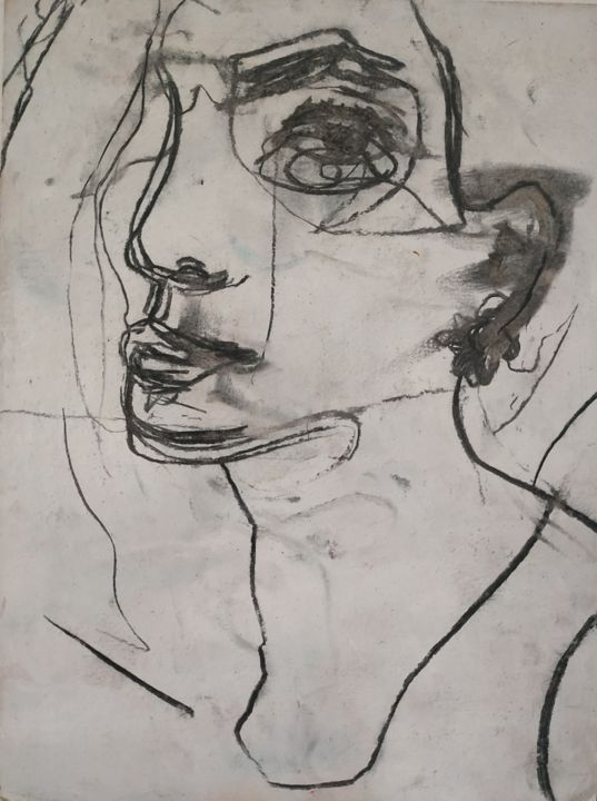 """Drawing titled """"Valentine, esquisse"""" by Guillaume Canva (.cG.), Original Art, Charcoal"""