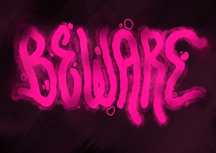BEWARE - Calligraphy,  29x42 cm ©2019 by Guillaume Laserson -                                                                                                                                                                                                Abstract Art, Expressionism, Illustration, Modernism, Contemporary painting, Surrealism, Other, Abstract Art, Calligraphy, Outer Space, Dark-Fantasy, Water, Graffiti, Typography, beware, attention, garde, violet, purple, dark, black, sombre, light, lumière, calligraphie, typographie, typography, calligraphy, design, graphisme, graphic, smooth, cosmos, strange, étrange, moody, cloudy, smoke, nuageux, points, halo, movement