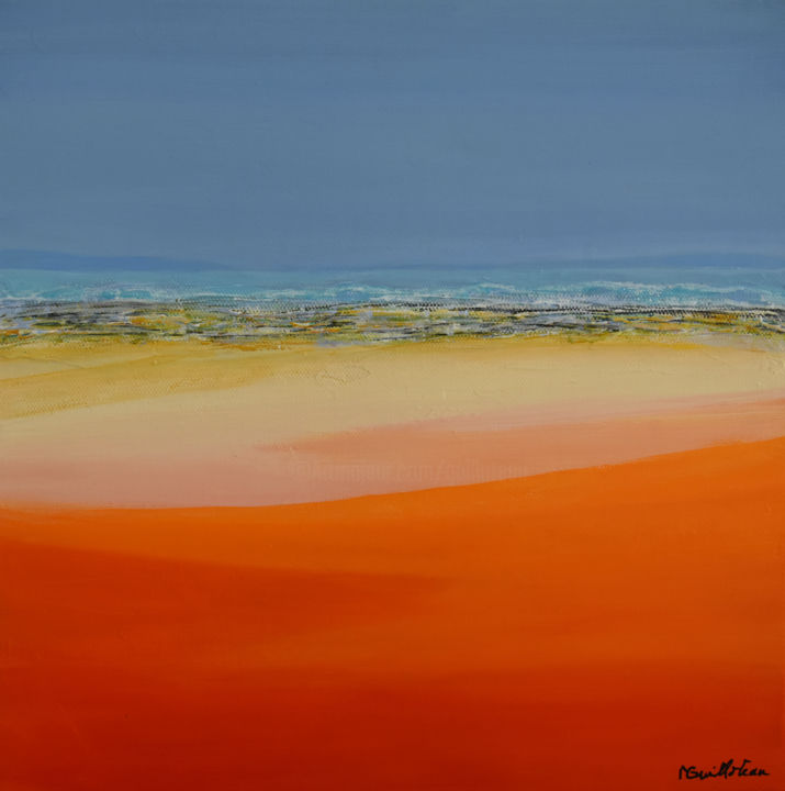 Horizon 1615 - Peinture,  11,8x11,8x0,8 in, ©2016 par Michele Guilloteau -                                                                                                                                                                                                                                                                                                                                                                                                                                                                                                                                                                                          Abstract, abstract-570, Nature, Paysage, Paysage marin, Plage, mer, seascape, red, rouge, orange, landscape
