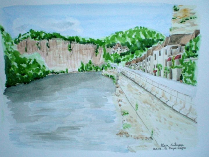 Aquarelle originale du village la roque gajeac - Painting,  30x40 cm ©2009 by Alain Guilmeau -                                                        Contemporary painting, Paper, Landscape