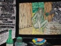 Espelho - Painting,  17.3x24.8 in, ©2009 by Guil -                                                                                                              Nude, colageme desenho com poesia