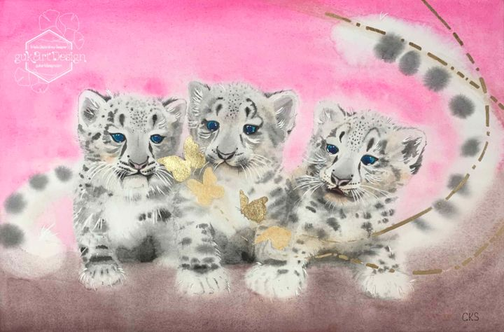 """Painting titled """"Baby Cubs and Golde…"""" by Karin Sarfati (Kaznachieva), Original Art, Watercolor"""