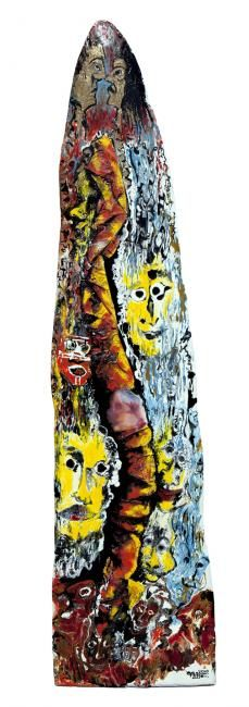 Painting,  43 x 175 cm ©2010 by Gültekin Bilge -  Painting, Abstract Expressionism, Abstract Oil Painting on treated natural long wood expressing ideas about lack of freedom