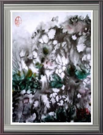 Paysage2 - Painting,  27x20 cm ©2004 by Hanwen Guo -                            Contemporary painting, Aquarelle