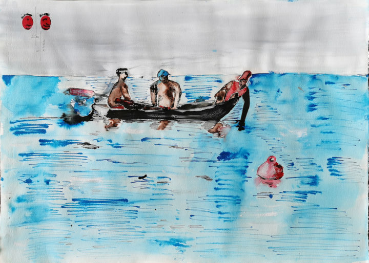 """Drawing titled """"Three men in a boat"""" by Gugo, Original Art, Ink"""