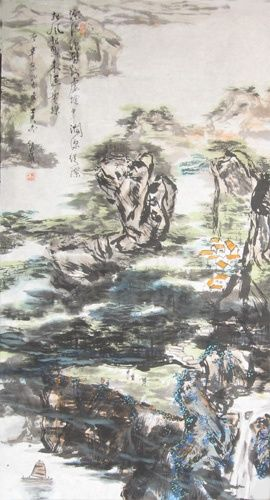 中国山水诗意画——《林烟瀑壁》the landscape poetry in China painting-《LIN2 YAN PU4's wall 》 - 绘画,  53.2x26.8 in, ©2008 Shaohua GU -