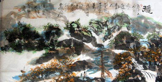Chinese landscape painting poetic - - 绘画,  26.8x53.5 in, ©2008 Shaohua GU -