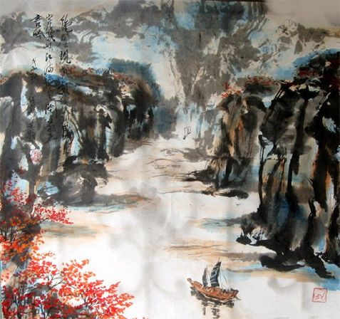 Chinese landscape painting poetic - - 绘画,  26.4x26.4 in, ©2008 Shaohua GU -