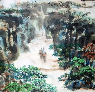 Poetic Chinese landscape painting - - 绘画,  26.7x27.2 in, ©2008 Shaohua GU -