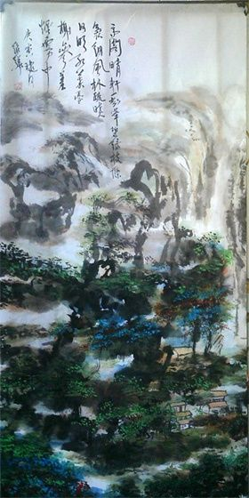 Chinese landscape painting - - 绘画,  53.5x26.8 in, ©2010 Shaohua GU -