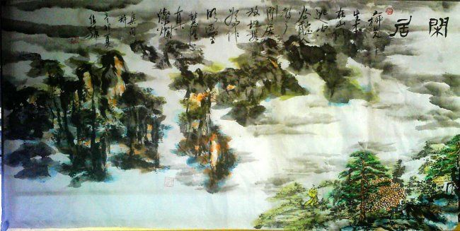 "Poetic Chinese landscape painting - ""homebound"" - 绘画,  26.8x53.5 in, ©2011 Shaohua GU -                                                                                                                          Abstract, abstract-570"