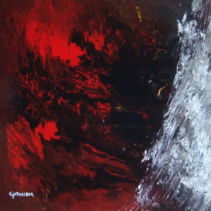 Tensions émotionnelles - Painting,  19.7x19.7 in, ©2013 by Geo GUTHLEBER -                                                                                                                                                                                                                                                                                                                                                                                                                                                                                                                                                                                                                                  Expressionism, expressionism-591, huile, émotions, tensions, abstrait, expression, rouge, noir, signée, toile de lin, peinture, artiste coté