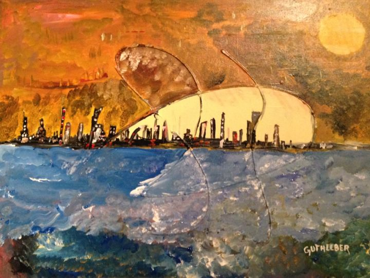 virtual city - Painting,  60x80 cm ©2014 by Geo GUTHLEBER -                            Expressionism, ville, guthleber, art