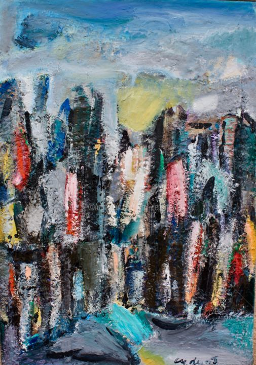 PAYSAGE URBAIN - Painting,  38.6x27.6 in, ©2017 by guy departe -