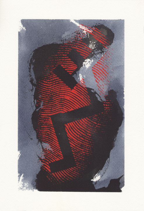 """Painting titled """"EMPREINTE TAURINE 11"""" by Guy Fouré, Original Art, Ink"""