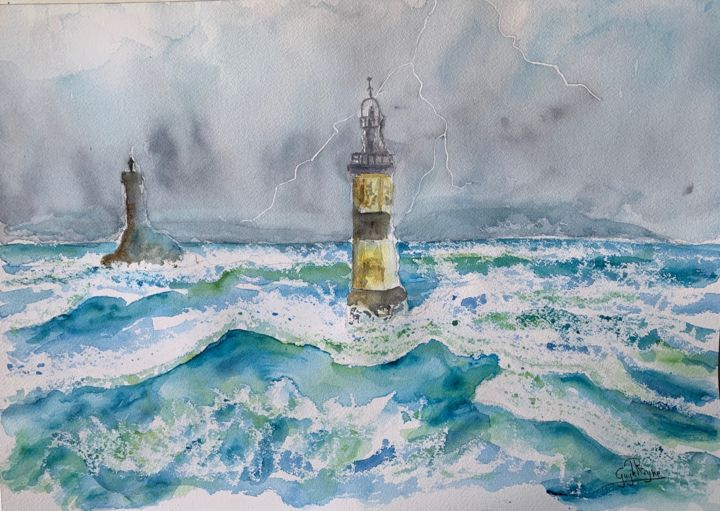 Tempête en mer - Painting,  14.2x20.1 in, ©2019 by Guyle Rayne -                                                                                                                                                                                                                                                                                                                                                                                                                                                                                                  Figurative, figurative-594, Architecture, phare, mer, vagues, tempête, orage, collections, collectionneurs