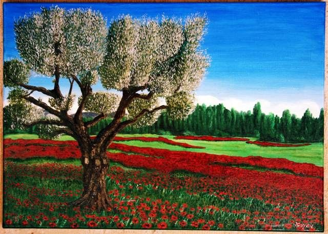 Olivier et coquelicots - Painting ©2007 by Jean Guyou -