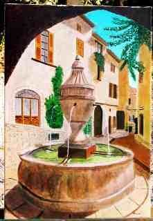 Fontaine en Provence - Painting,  55x38 cm ©2005 by Jean Guyou -                            Realism, Fontaine huile provence