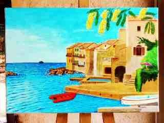 Cabanons et mimosas - Painting,  38x55 cm ©2005 by Jean Guyou -                            Realism, marine cabanons provence mimosas huile