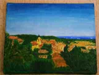 Ramatuelle vue mer - Painting,  12x18 cm ©2005 by Jean Guyou -                            Realism, Huile ramatuelle mer village provence