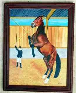 Dressage - Painting,  61x46 cm ©2005 by Jean Guyou -                            Realism, Huile dressage cheval chevaux travail