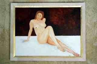 Relaxation - Painting,  46x61 cm ©2005 by Jean Guyou -                            Realism, Huile nu femme relaxation repos