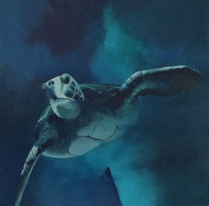 tortue - Painting,  31.5x31.5x1.6 in, ©2019 by guyomard -                                                              Animals