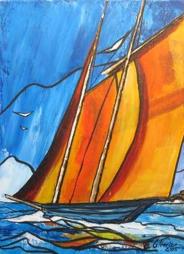 Sinagot - Painting,  13x9.5 in, ©2005 by Guy Terrier -                                                                                                                                                                          Fauvism, fauvism-942, bateau navire sinagot mer bretagne