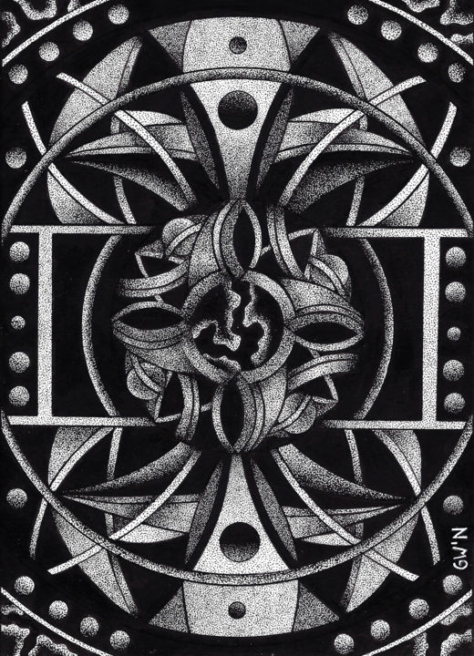 Réflexion - Drawing,  7x5x0.4 in, ©2018 by Gwen -                                                                                                                                                                                                                                                                                                                                                                                                                                                                                                                                                                                          Abstract, abstract-570, Abstract Art, Geometric, Patterns, Spirituality, mécanisme, dessin, dotwork, noir et blanc, abstrait, géométrie