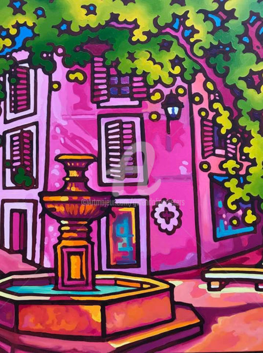 Place de la fontaine, Cassis. - Painting,  100x80x2 cm ©2018 by Gwendoline Pieters -                                                                        Contemporary painting, Canvas, Colors, Light, cassis, fontaine